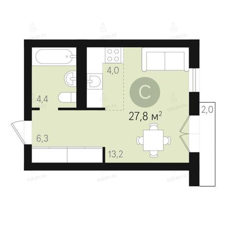 Вариант №2671, 1-комнатная квартира в жилом комплексе Дунаевский