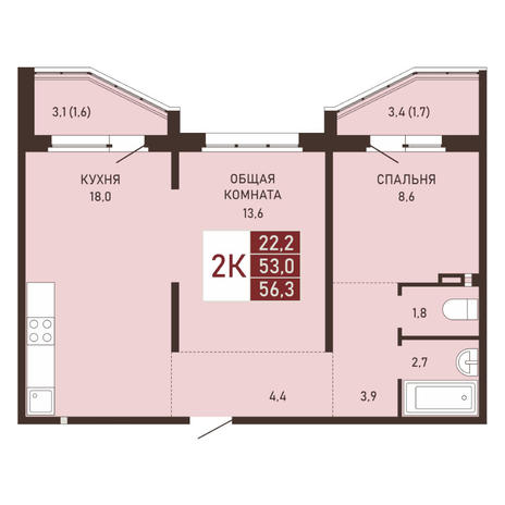 Вариант №3654, 3-комнатная квартира в жилом комплексе