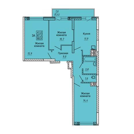 Вариант №5640, 3-комнатная квартира в жилом комплексе