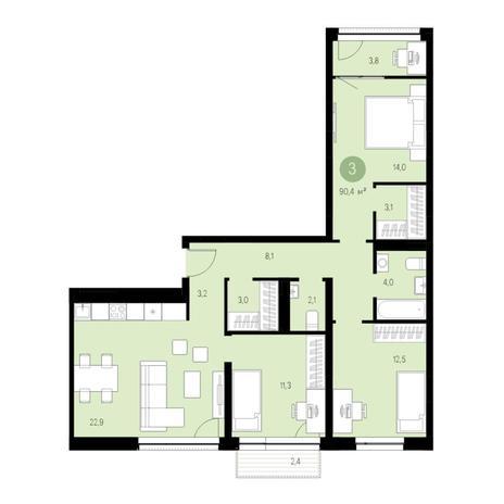 Вариант №4631, 4-комнатная квартира в жилом комплексе Европейский Берег