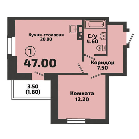 Вариант №3387, 1-комнатная квартира в жилом комплексе