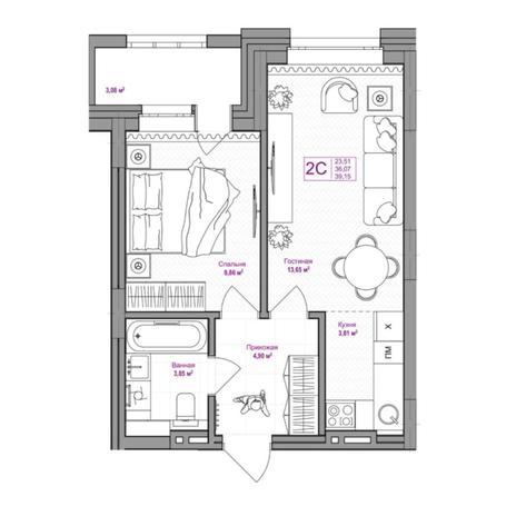 Вариант №6656, 2-комнатная квартира в жилом комплексе