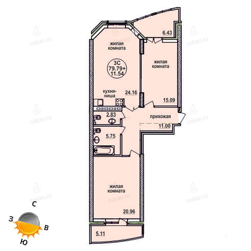 Планировка 3-комн. студия площадью 79.79 м<sup>2</sup> в ЖК Заельцовский