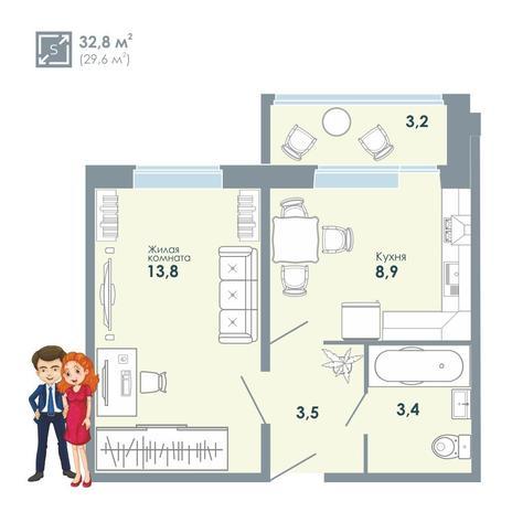 Вариант №5140, 1-комнатная квартира в жилом комплексе