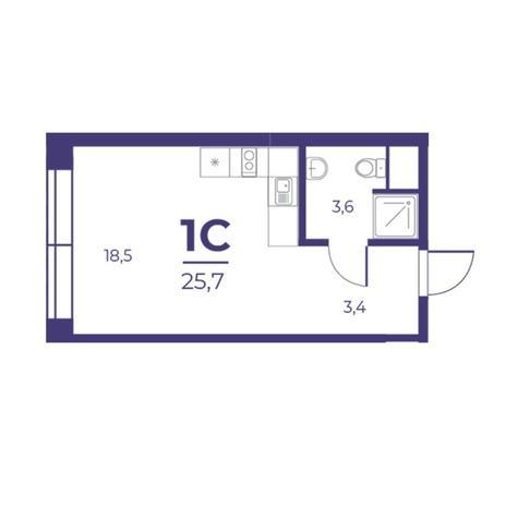 Вариант №5295, 1-комнатная квартира в жилом комплексе