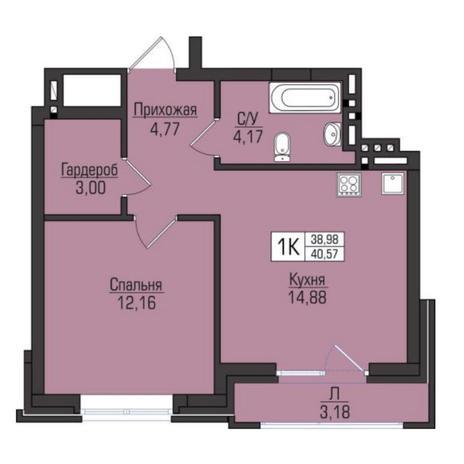 Вариант №5077, 1-комнатная квартира в жилом комплексе Ясный берег