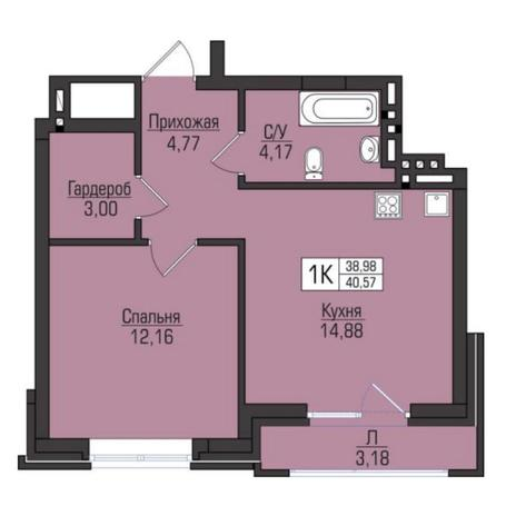 Вариант №5077, 1-комнатная квартира в жилом комплексе