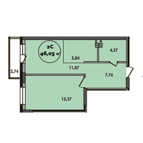 Вариант №5504, 2-комнатная квартира в жилом комплексе Сокольники