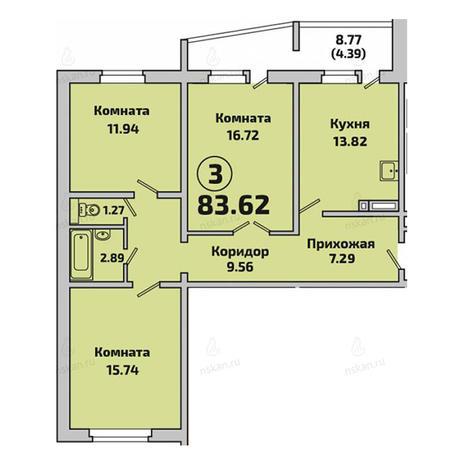 Вариант №2842, 3-комнатная квартира в жилом комплексе Родники