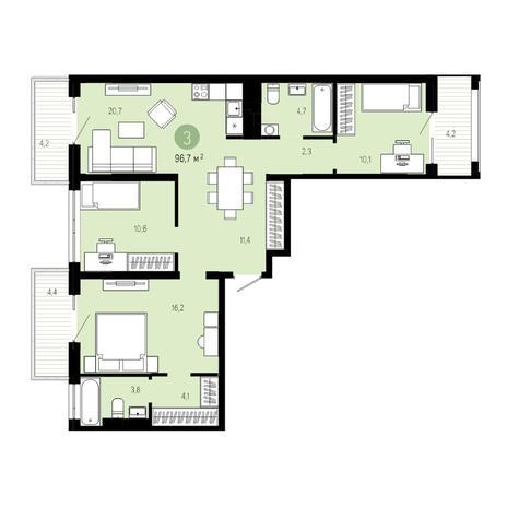 Вариант №4824, 4-комнатная квартира в жилом комплексе Европейский Берег
