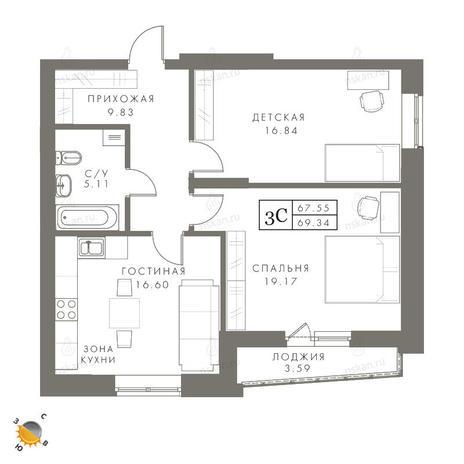 Вариант №2448, 3-комнатная квартира в жилом комплексе