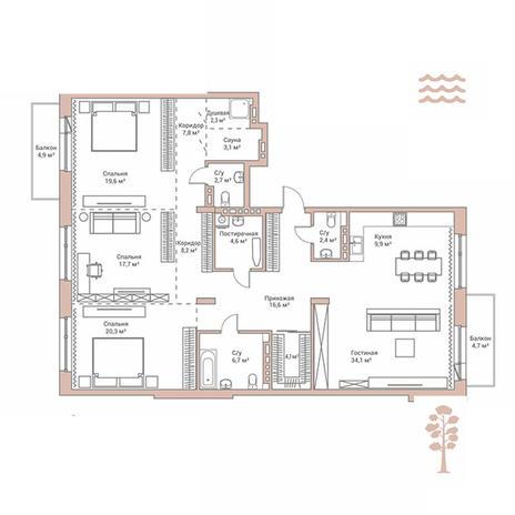 Вариант №2884, 4-комнатная квартира в жилом комплексе