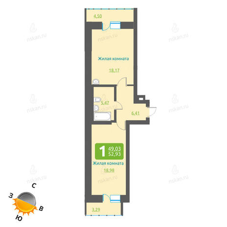 Вариант №1203, 2-комнатная квартира в жилом комплексе Марсель