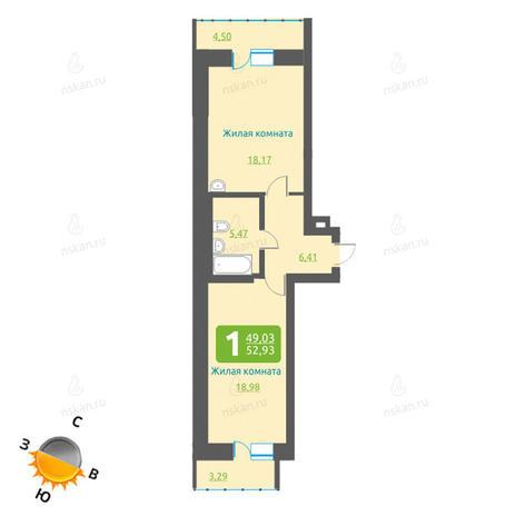 Вариант №1203, 2-комнатная квартира в жилом комплексе
