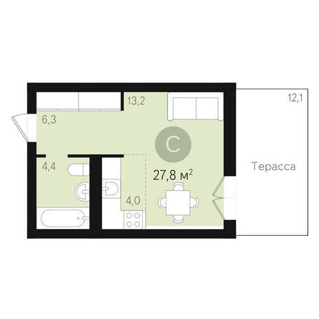 Вариант №3465, 1-комнатная квартира в жилом комплексе Дунаевский