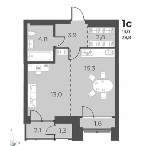 Вариант №5808, 1-комнатная квартира в жилом комплексе