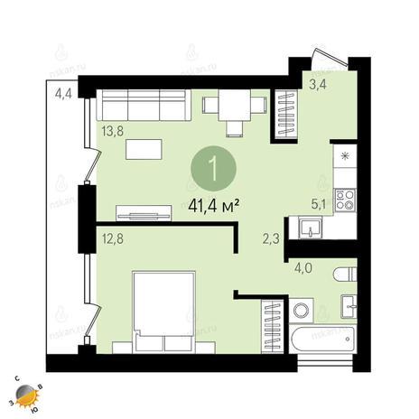 Вариант №2415, 2-комнатная квартира в жилом комплексе Европейский Берег