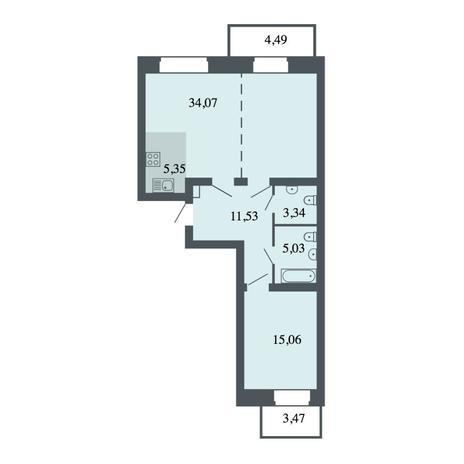 Вариант №4477, 3-комнатная квартира в жилом комплексе