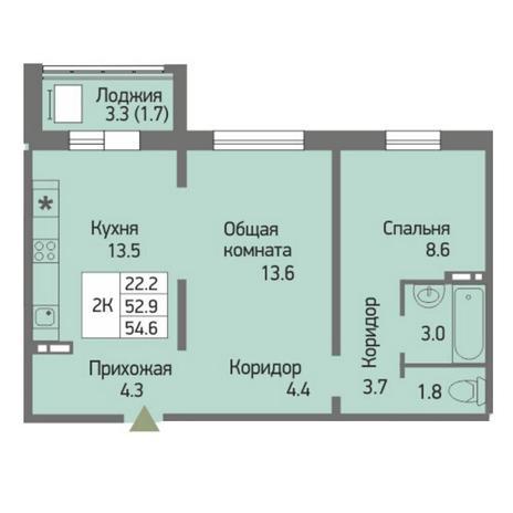 Вариант №3865, 2-комнатная квартира в жилом комплексе Ясный берег