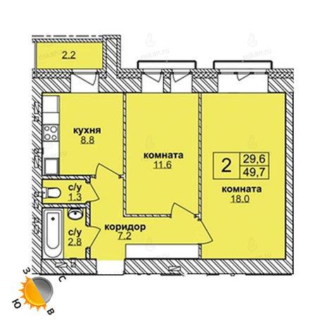 Вариант №1609, 2-комнатная квартира в жилом комплексе
