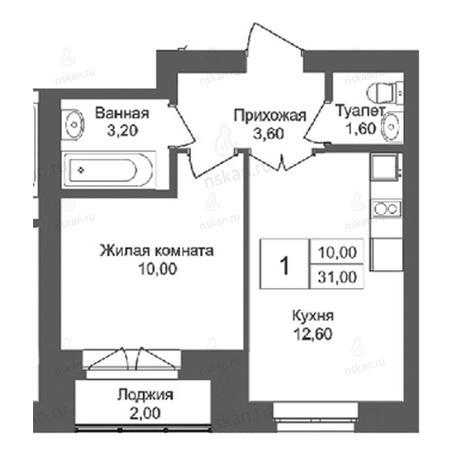 Вариант №2760, 1-комнатная квартира в жилом комплексе