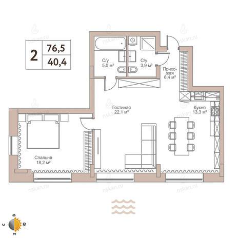 Вариант №2437, 2-комнатная квартира в жилом комплексе Flora & Fauna