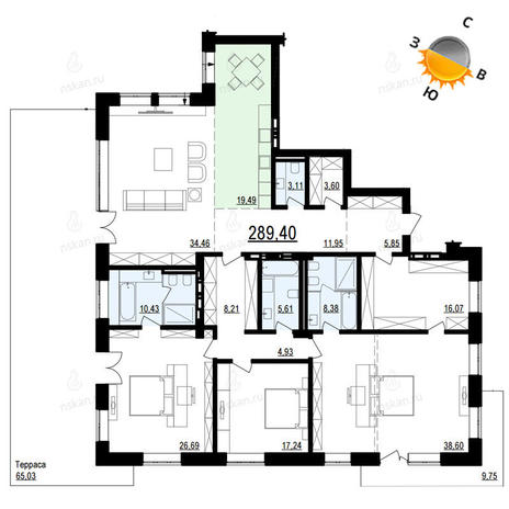 Вариант №887, 4-комнатная квартира в жилом комплексе Жуковка