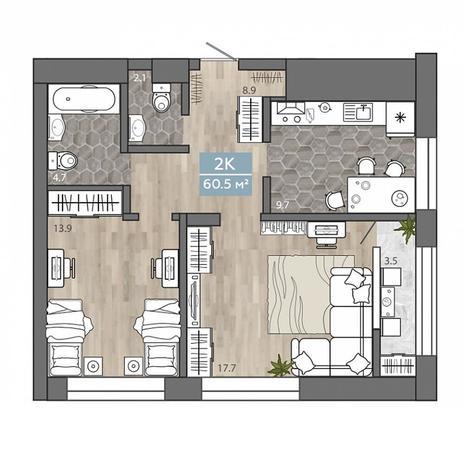 Вариант №3106, 2-комнатная квартира в жилом комплексе На Королева