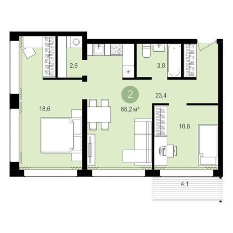 Вариант №4301, 3-комнатная квартира в жилом комплексе Пшеница