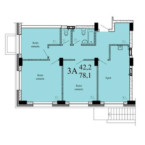 Вариант №6533, 3-комнатная квартира в жилом комплексе
