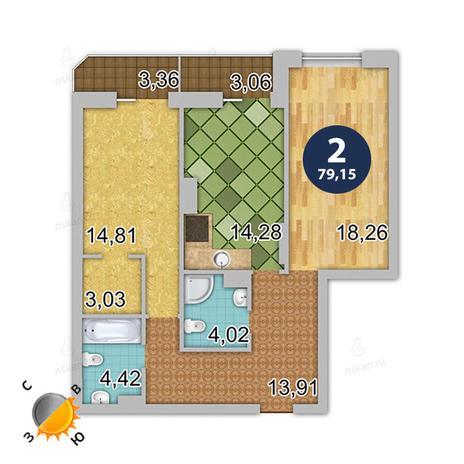 Вариант №141, 2-комнатная квартира в жилом комплексе Шесть звезд