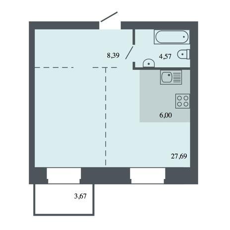 Вариант №4439, 2-комнатная квартира в жилом комплексе Спектр