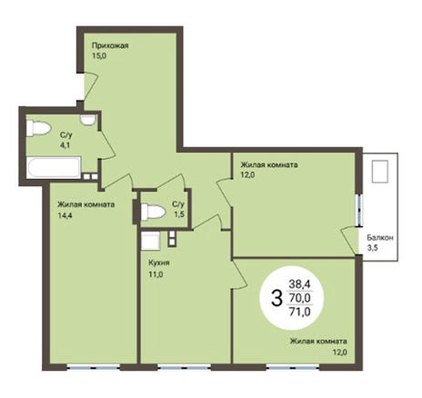Вариант №4854, 3-комнатная квартира в жилом комплексе