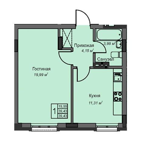 Вариант №3081, 1-комнатная квартира в жилом комплексе На Народной