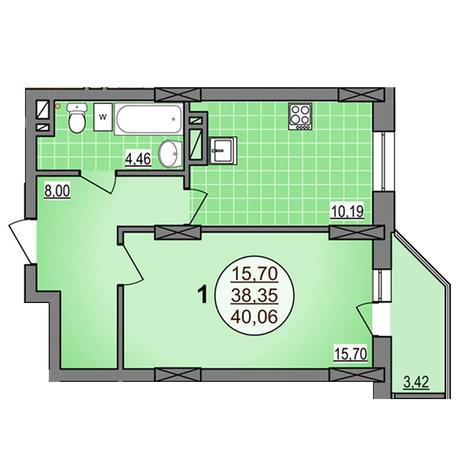 Вариант №3879, 1-комнатная квартира в жилом комплексе Гурьевский