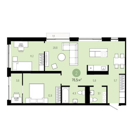 Вариант №6258, 3-комнатная квартира в жилом комплексе