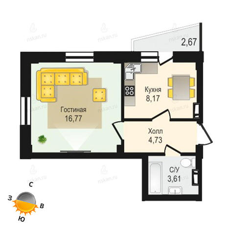Вариант №1340, 1-комнатная квартира в жилом комплексе Крымский