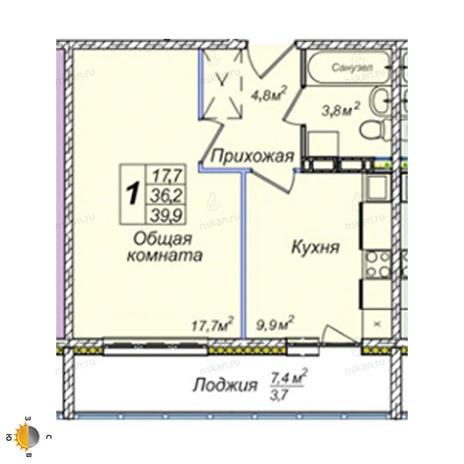 Вариант №2392, 1-комнатная квартира в жилом комплексе