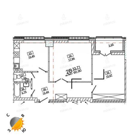 Вариант №972, 2-комнатная квартира в жилом комплексе Римский квартал
