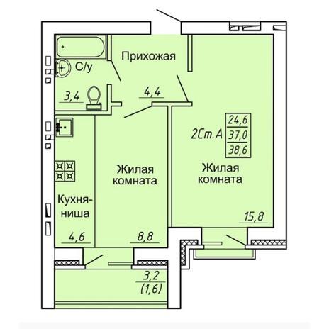 Вариант №4308, 2-комнатная квартира в жилом комплексе