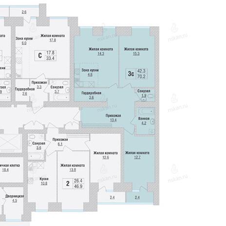 Вариант №1064, 3-комнатная квартира в жилом комплексе