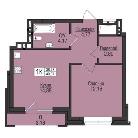 Вариант №5074, 1-комнатная квартира в жилом комплексе