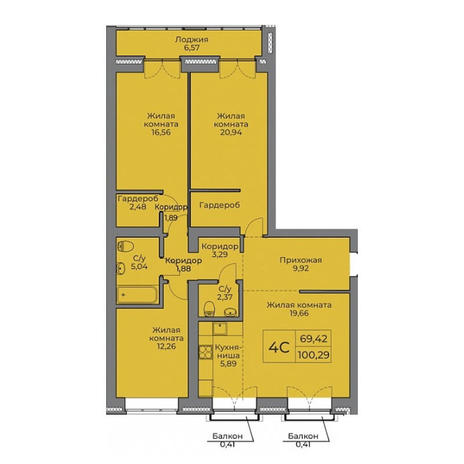 Вариант №3530, 4-комнатная квартира в жилом комплексе