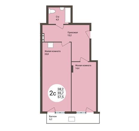 Вариант №4559, 2-комнатная квартира в жилом комплексе Аквамарин