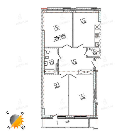 Вариант №967, 3-комнатная квартира в жилом комплексе Римский квартал