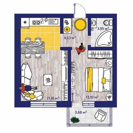 Вариант №4375, 2-комнатная квартира в жилом комплексе