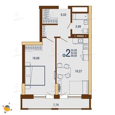 Вариант №1813, 2-комнатная квартира в жилом комплексе На Доватора