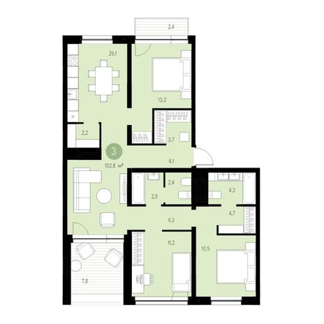Вариант №4688, 4-комнатная квартира в жилом комплексе