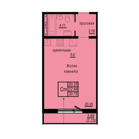 Вариант №4944, 1-комнатная квартира в жилом комплексе