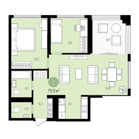Вариант №5518, 3-комнатная квартира в жилом комплексе